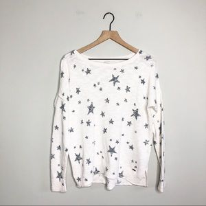 Hollister White / Navy Crew Graphic Star Sweater